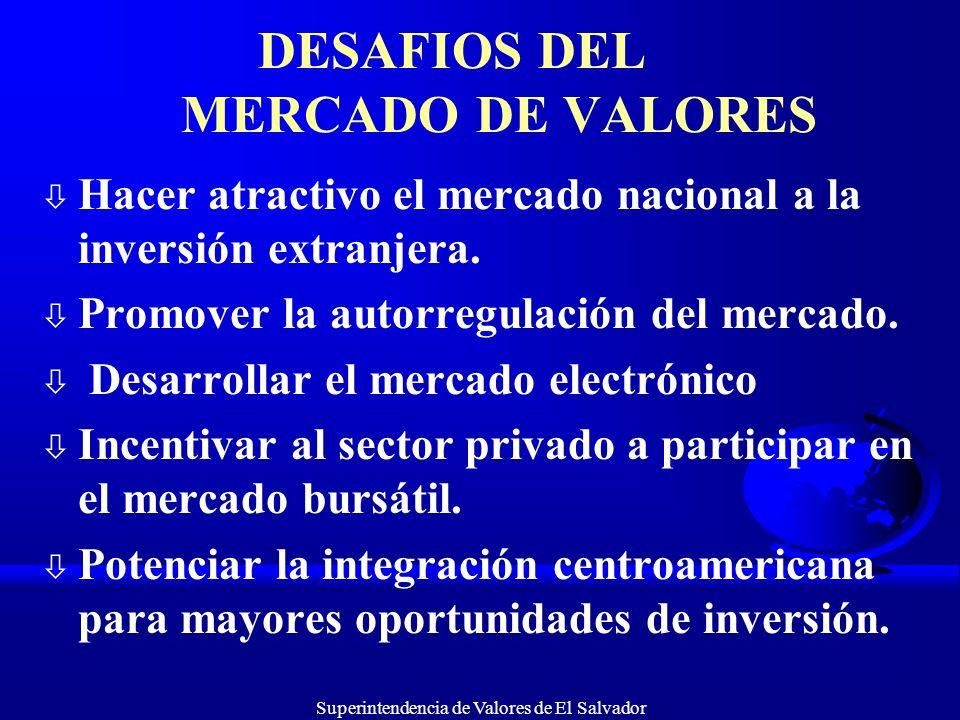 Superintendencia de Valores de El Salvador DESAFIOS DEL MERCADO DE VALORES ò Hacer atractivo el mercado nacional a la inversión extranjera. ò Promover