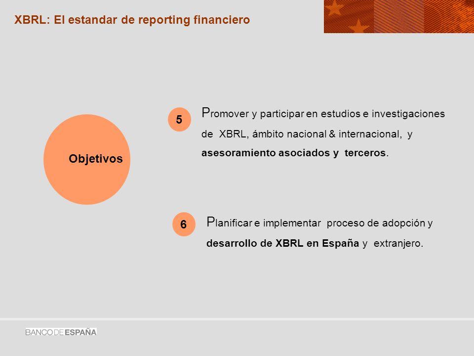 P romover y participar en estudios e investigaciones de XBRL, ámbito nacional & internacional, y asesoramiento asociados y terceros.