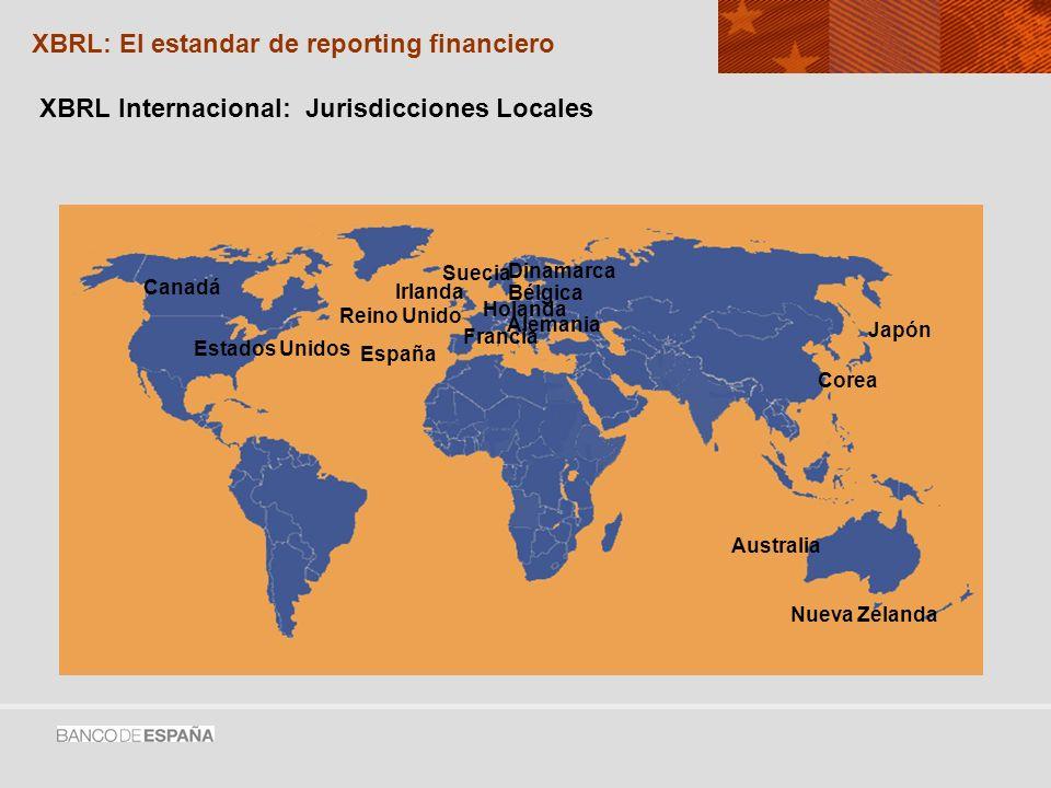 XBRL Internacional: Jurisdicciones Locales Estados Unidos Canadá Suecia Alemania Holanda Irlanda Reino Unido Japón Corea Australia Nueva Zelanda España XBRL: El estandar de reporting financiero Francia Dinamarca Bélgica