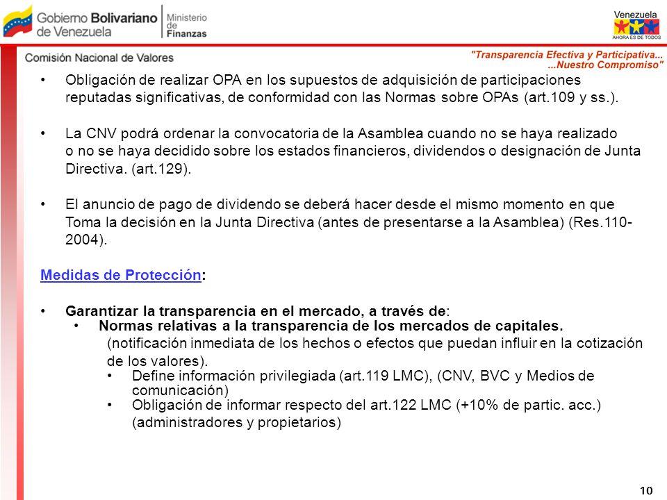 Obligación de realizar OPA en los supuestos de adquisición de participaciones reputadas significativas, de conformidad con las Normas sobre OPAs (art.109 y ss.).