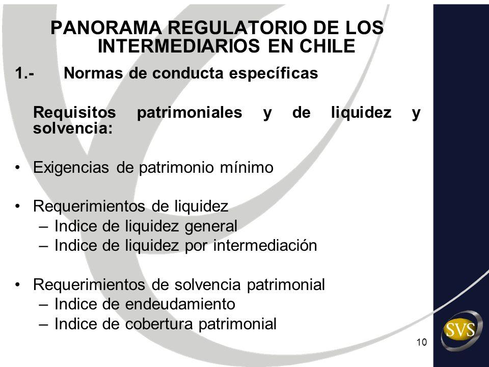 10 PANORAMA REGULATORIO DE LOS INTERMEDIARIOS EN CHILE 1.-Normas de conducta específicas Requisitos patrimoniales y de liquidez y solvencia: Exigencia