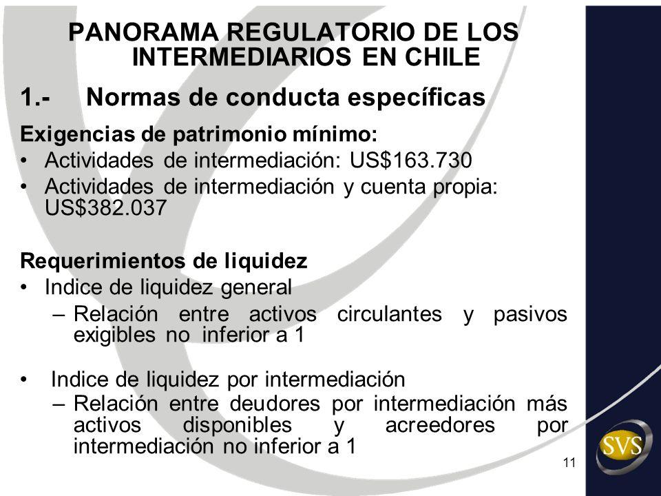 11 PANORAMA REGULATORIO DE LOS INTERMEDIARIOS EN CHILE 1.-Normas de conducta específicas Exigencias de patrimonio mínimo: Actividades de intermediació