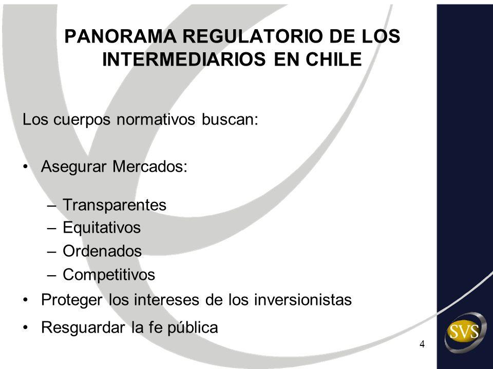 4 PANORAMA REGULATORIO DE LOS INTERMEDIARIOS EN CHILE Los cuerpos normativos buscan: Asegurar Mercados: –Transparentes –Equitativos –Ordenados –Compet