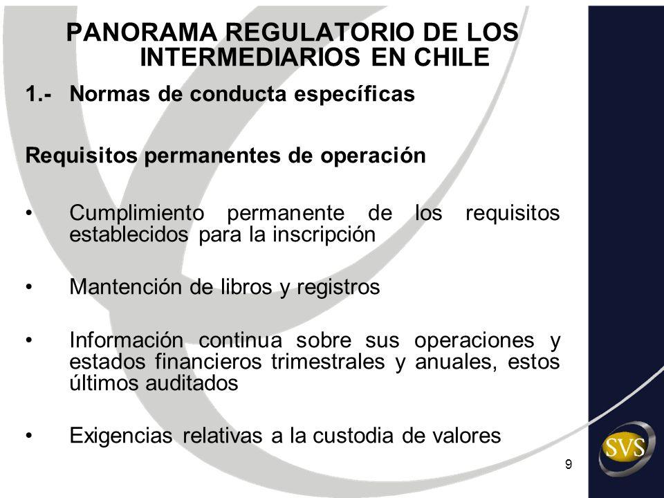 9 PANORAMA REGULATORIO DE LOS INTERMEDIARIOS EN CHILE 1.-Normas de conducta específicas Requisitos permanentes de operación Cumplimiento permanente de
