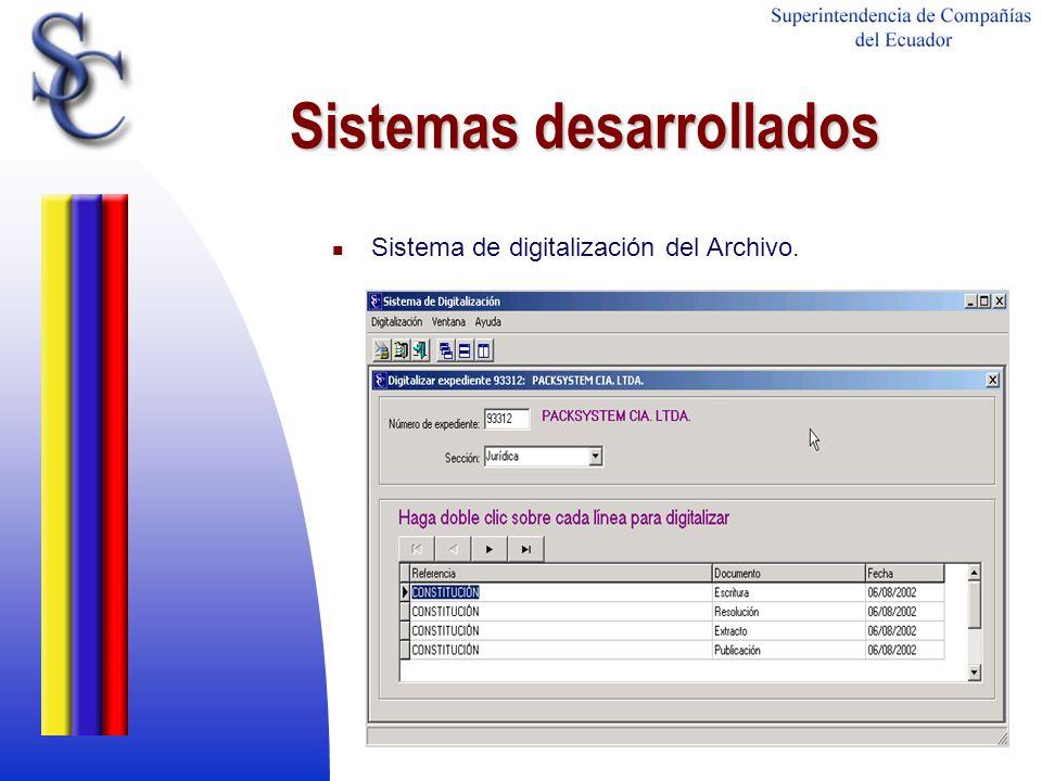 Sistemas desarrollados Sistema de digitalización del Archivo.