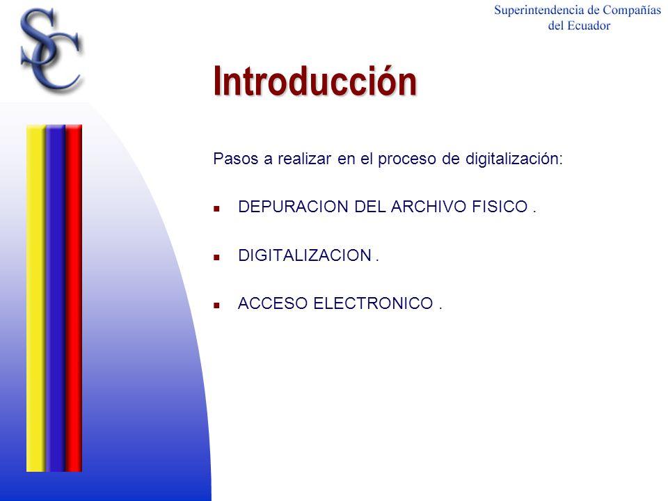 Introducción Pasos a realizar en el proceso de digitalización: DEPURACION DEL ARCHIVO FISICO. DIGITALIZACION. ACCESO ELECTRONICO.
