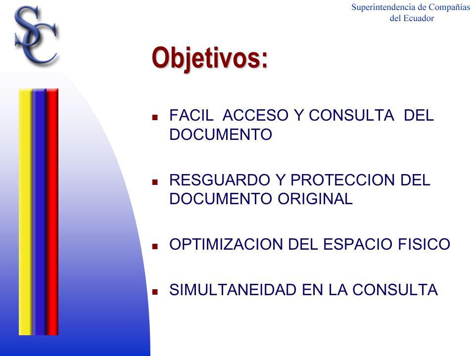 Objetivos: FACIL ACCESO Y CONSULTA DEL DOCUMENTO RESGUARDO Y PROTECCION DEL DOCUMENTO ORIGINAL OPTIMIZACION DEL ESPACIO FISICO SIMULTANEIDAD EN LA CON