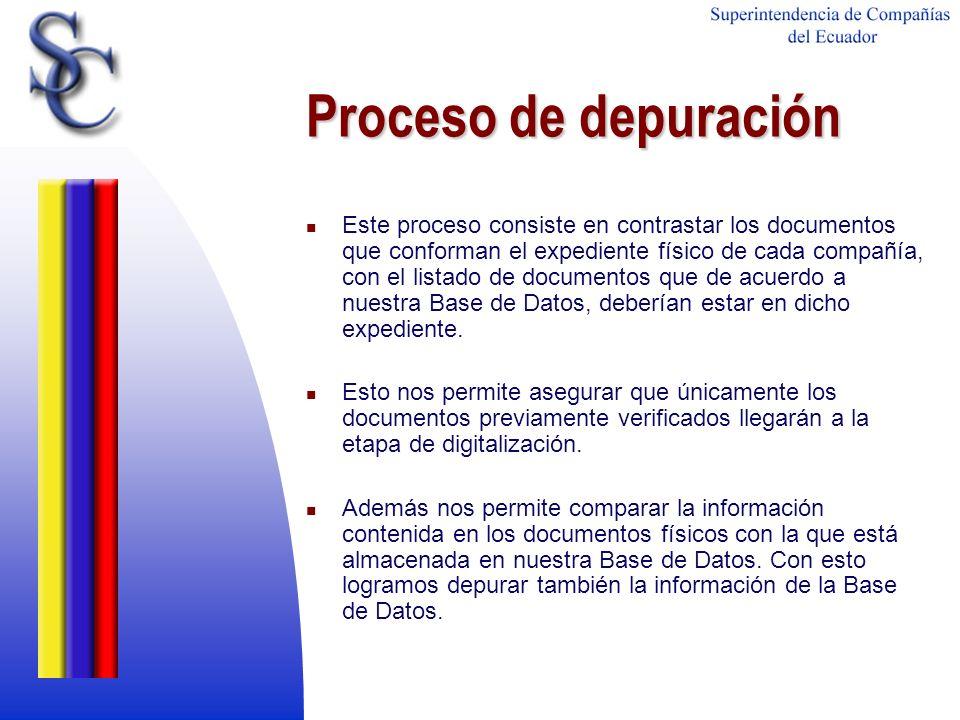 Proceso de depuración Este proceso consiste en contrastar los documentos que conforman el expediente físico de cada compañía, con el listado de docume