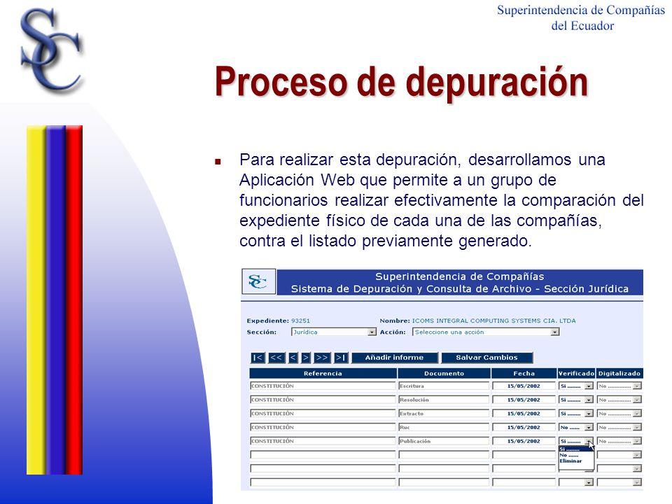 Proceso de depuración Para realizar esta depuración, desarrollamos una Aplicación Web que permite a un grupo de funcionarios realizar efectivamente la
