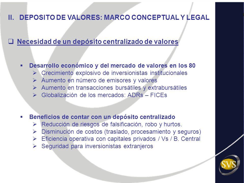 II. DEPOSITO DE VALORES: MARCO CONCEPTUAL Y LEGAL Necesidad de un depósito centralizado de valores Desarrollo económico y del mercado de valores en lo