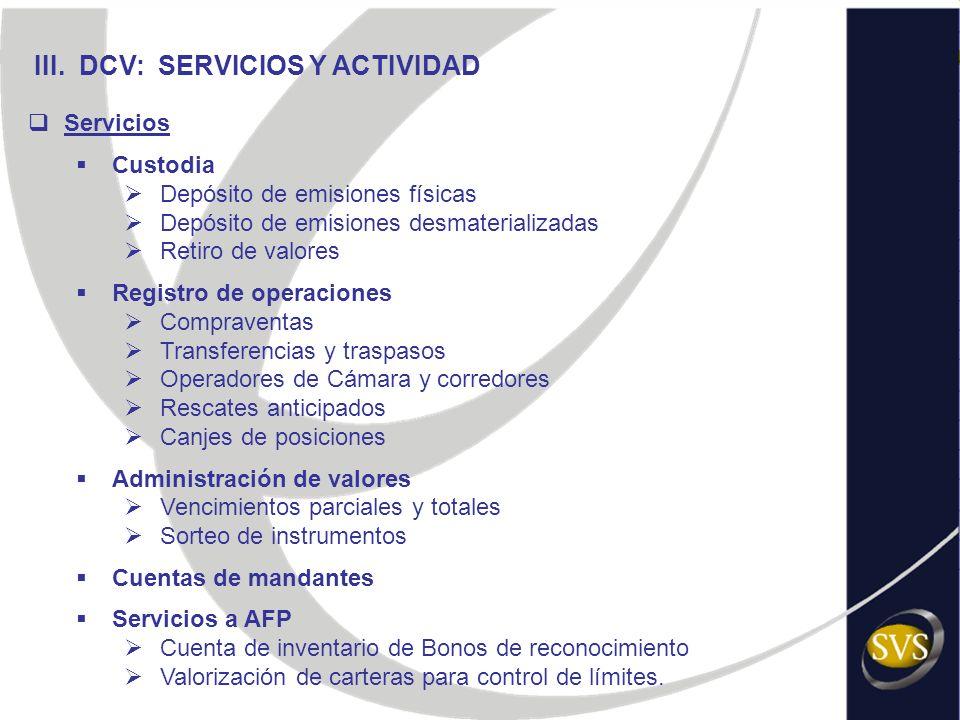 III. DCV: SERVICIOS Y ACTIVIDAD Servicios Custodia Depósito de emisiones físicas Depósito de emisiones desmaterializadas Retiro de valores Registro de