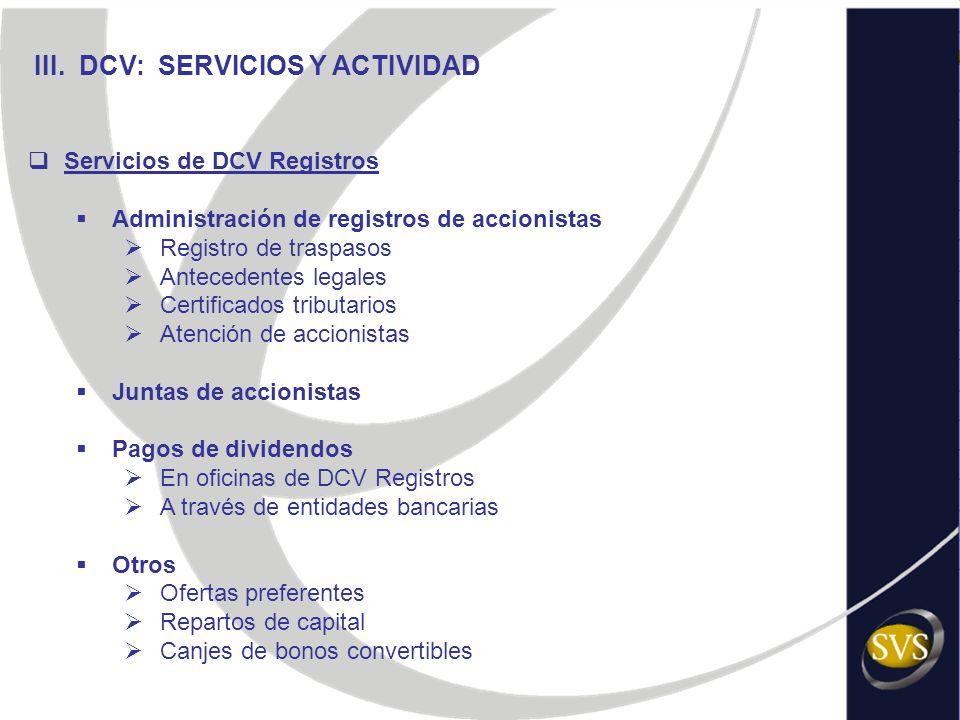 III. DCV: SERVICIOS Y ACTIVIDAD Servicios de DCV Registros Administración de registros de accionistas Registro de traspasos Antecedentes legales Certi