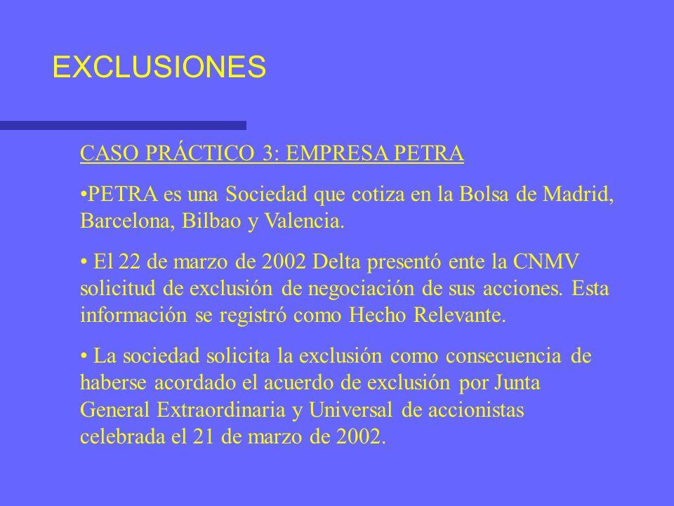 EXCLUSIONES CASO PRÁCTICO 3: EMPRESA PETRA PETRA es una Sociedad que cotiza en la Bolsa de Madrid, Barcelona, Bilbao y Valencia. El 22 de marzo de 200