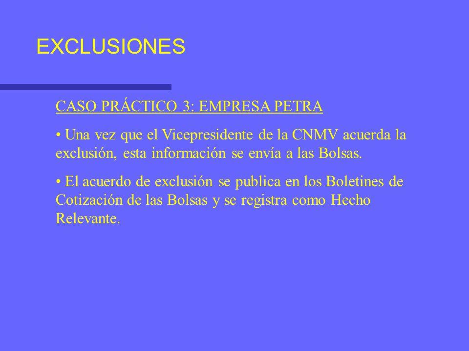 EXCLUSIONES CASO PRÁCTICO 3: EMPRESA PETRA Una vez que el Vicepresidente de la CNMV acuerda la exclusión, esta información se envía a las Bolsas. El a