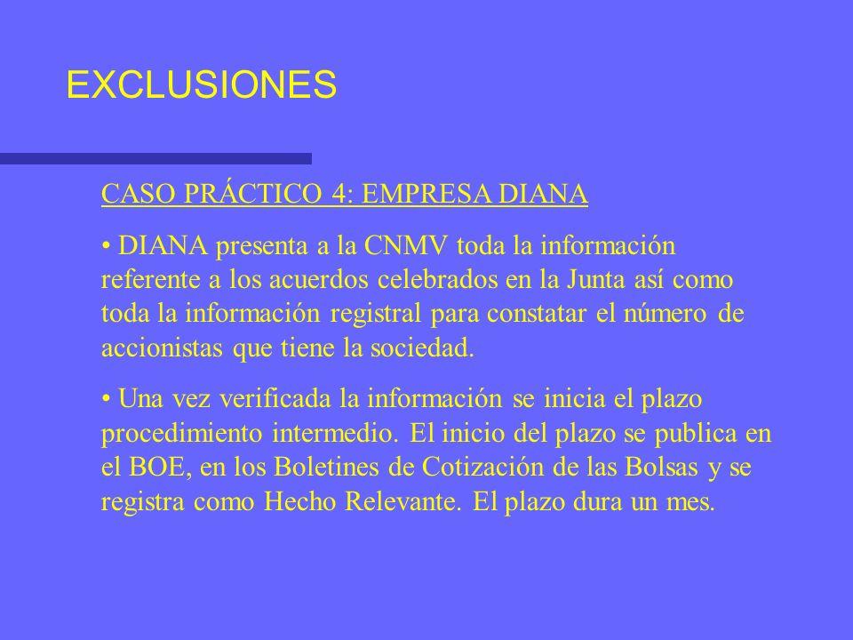 EXCLUSIONES CASO PRÁCTICO 4: EMPRESA DIANA DIANA presenta a la CNMV toda la información referente a los acuerdos celebrados en la Junta así como toda la información registral para constatar el número de accionistas que tiene la sociedad.