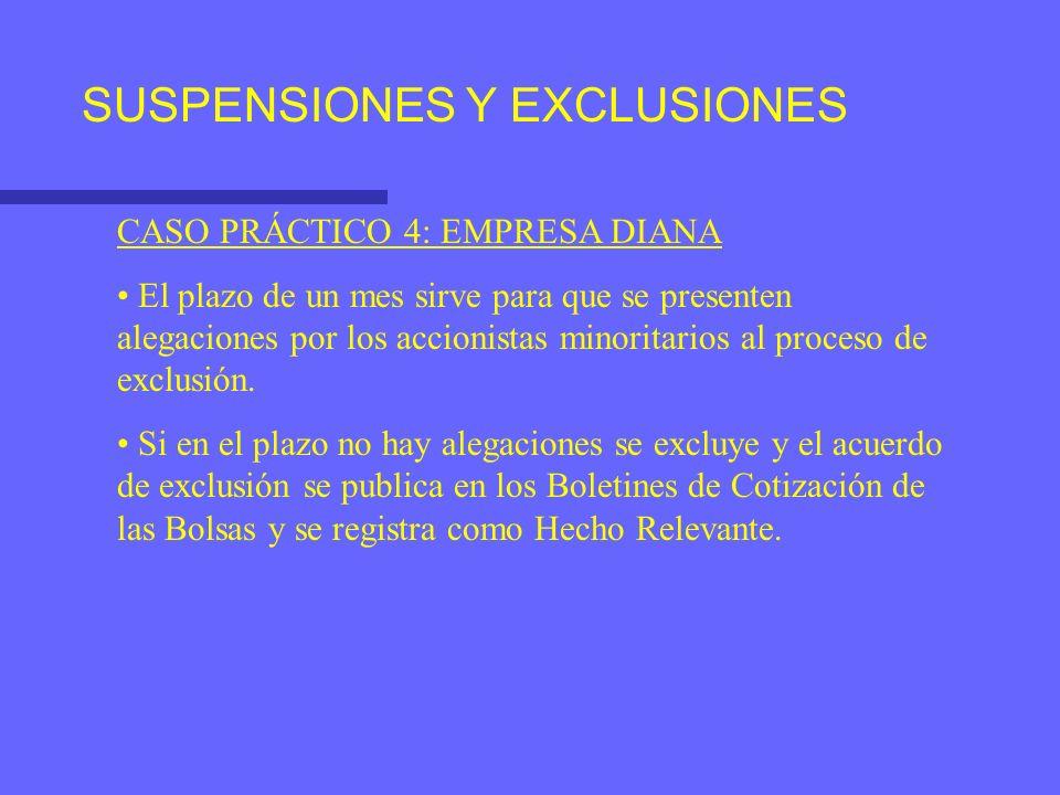 SUSPENSIONES Y EXCLUSIONES CASO PRÁCTICO 4: EMPRESA DIANA El plazo de un mes sirve para que se presenten alegaciones por los accionistas minoritarios