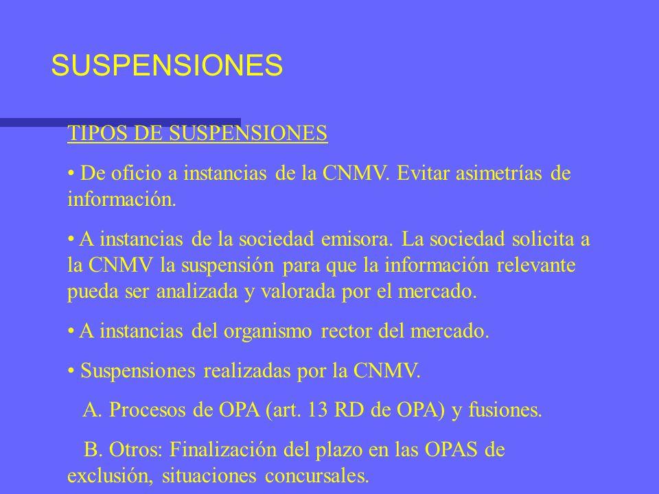 SUSPENSIONES TIPOS DE SUSPENSIONES De oficio a instancias de la CNMV. Evitar asimetrías de información. A instancias de la sociedad emisora. La socied