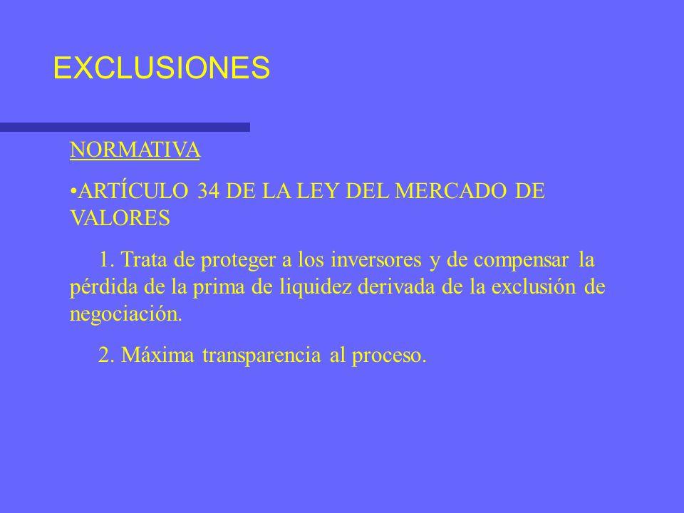 EXCLUSIONES NORMATIVA ARTÍCULO 34 DE LA LEY DEL MERCADO DE VALORES 1. Trata de proteger a los inversores y de compensar la pérdida de la prima de liqu