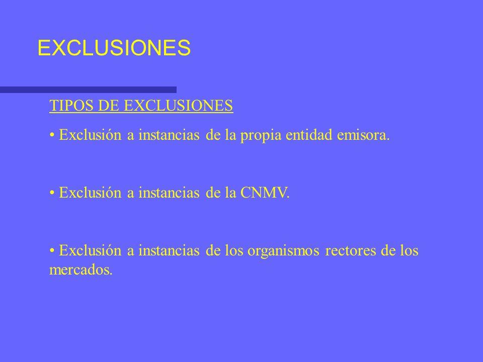 EXCLUSIONES TIPOS DE EXCLUSIONES Exclusión a instancias de la propia entidad emisora. Exclusión a instancias de la CNMV. Exclusión a instancias de los