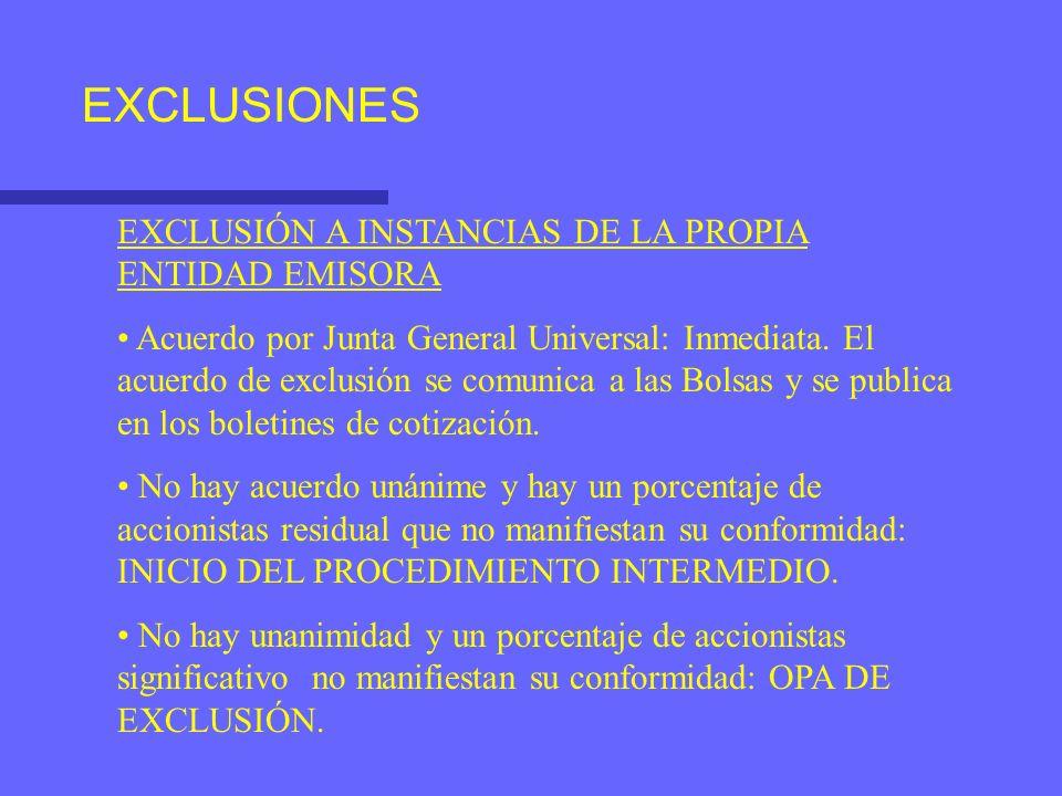EXCLUSIONES EXCLUSIÓN A INSTANCIAS DE LA PROPIA ENTIDAD EMISORA Acuerdo por Junta General Universal: Inmediata. El acuerdo de exclusión se comunica a