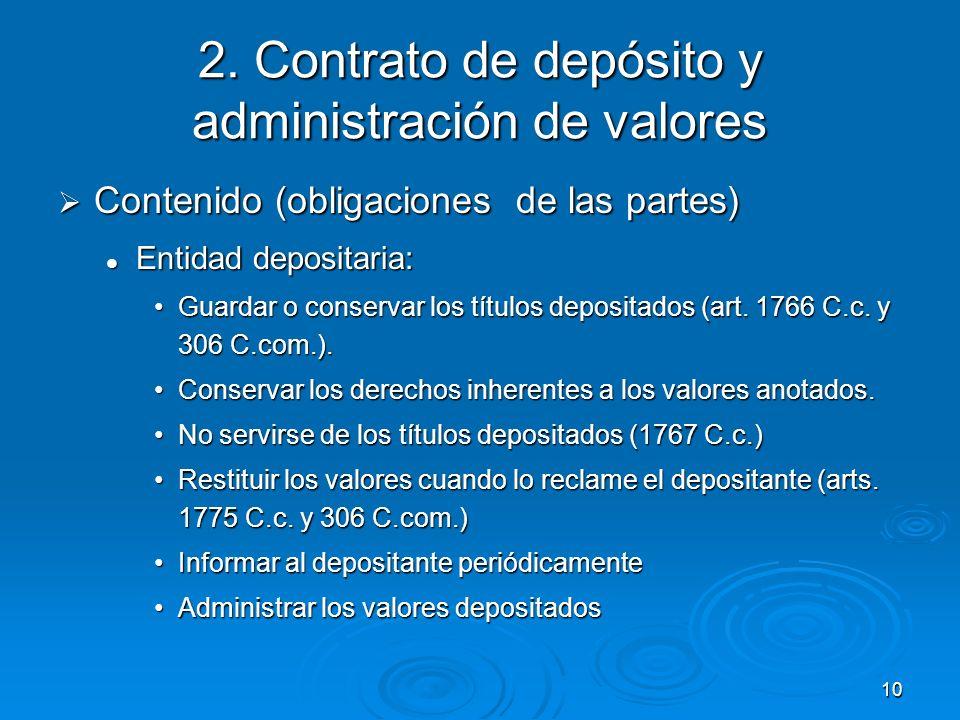 10 2. Contrato de depósito y administración de valores Contenido (obligaciones de las partes) Contenido (obligaciones de las partes) Entidad depositar
