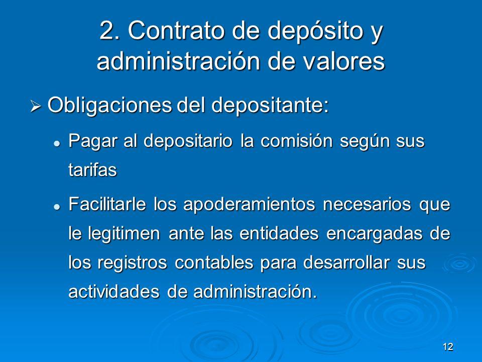 12 2. Contrato de depósito y administración de valores Obligaciones del depositante: Obligaciones del depositante: Pagar al depositario la comisión se
