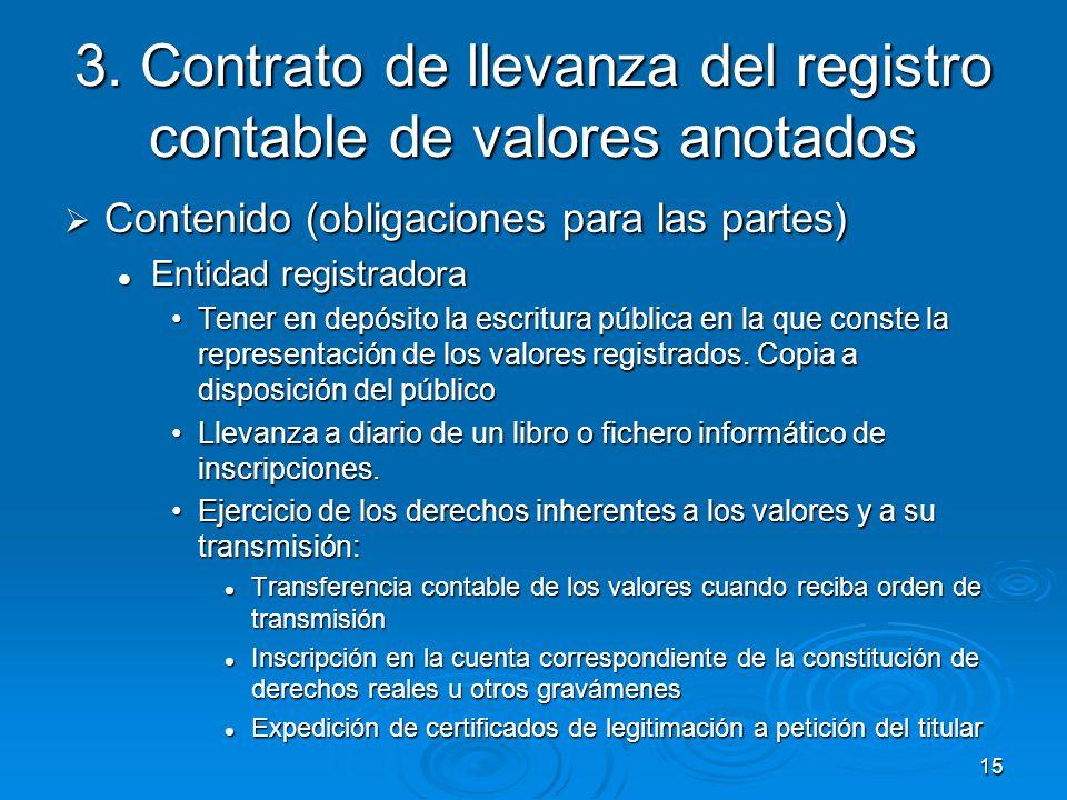 15 3. Contrato de llevanza del registro contable de valores anotados Contenido (obligaciones para las partes) Contenido (obligaciones para las partes)