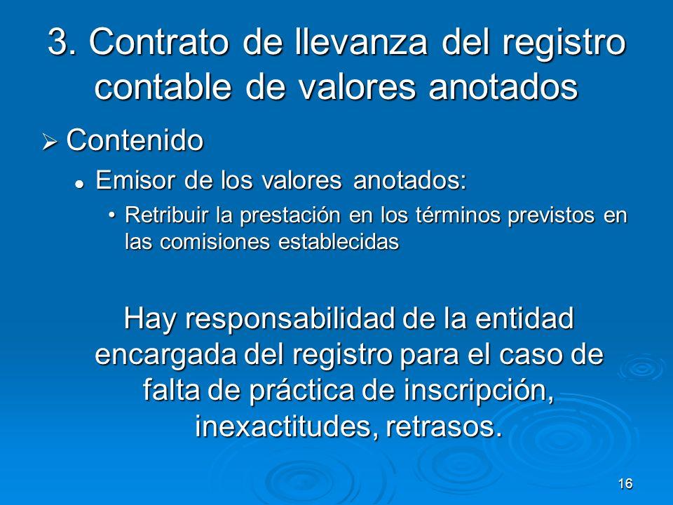 16 3. Contrato de llevanza del registro contable de valores anotados Contenido Contenido Emisor de los valores anotados: Emisor de los valores anotado