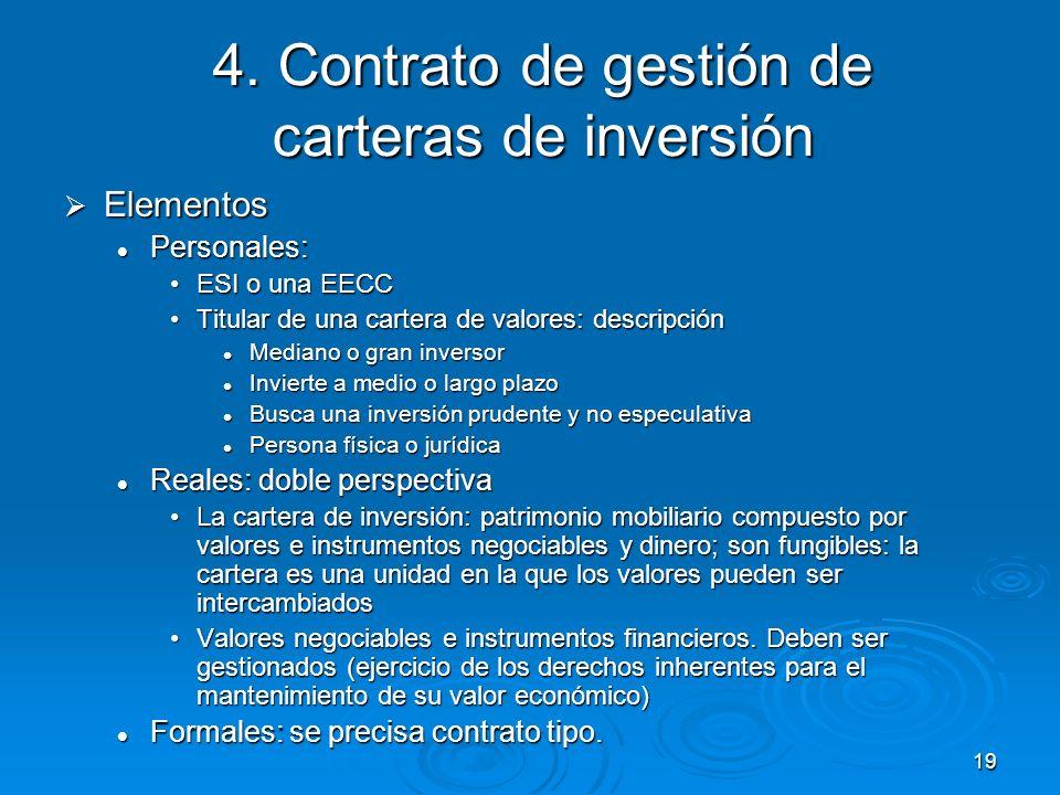 19 4. Contrato de gestión de carteras de inversión Elementos Elementos Personales: Personales: ESI o una EECCESI o una EECC Titular de una cartera de