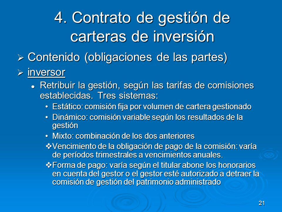 21 4. Contrato de gestión de carteras de inversión Contenido (obligaciones de las partes) Contenido (obligaciones de las partes) inversor inversor Ret