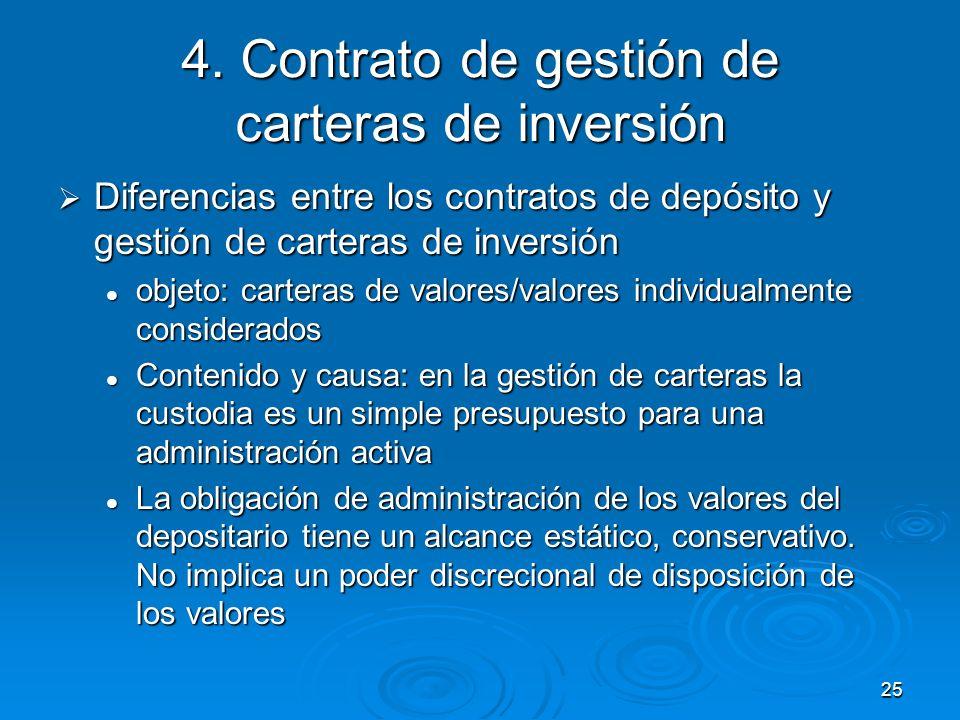 25 4. Contrato de gestión de carteras de inversión Diferencias entre los contratos de depósito y gestión de carteras de inversión Diferencias entre lo
