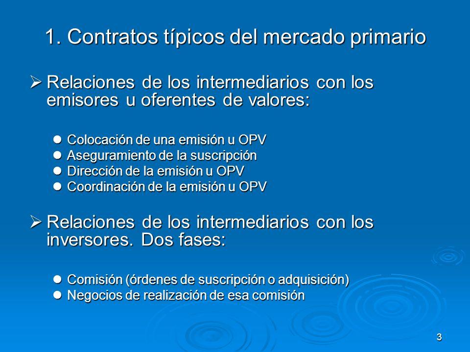 3 1. Contratos típicos del mercado primario Relaciones de los intermediarios con los emisores u oferentes de valores: Relaciones de los intermediarios