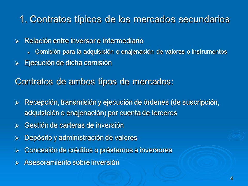 4 1. Contratos típicos de los mercados secundarios Relación entre inversor e intermediario Relación entre inversor e intermediario Comisión para la ad