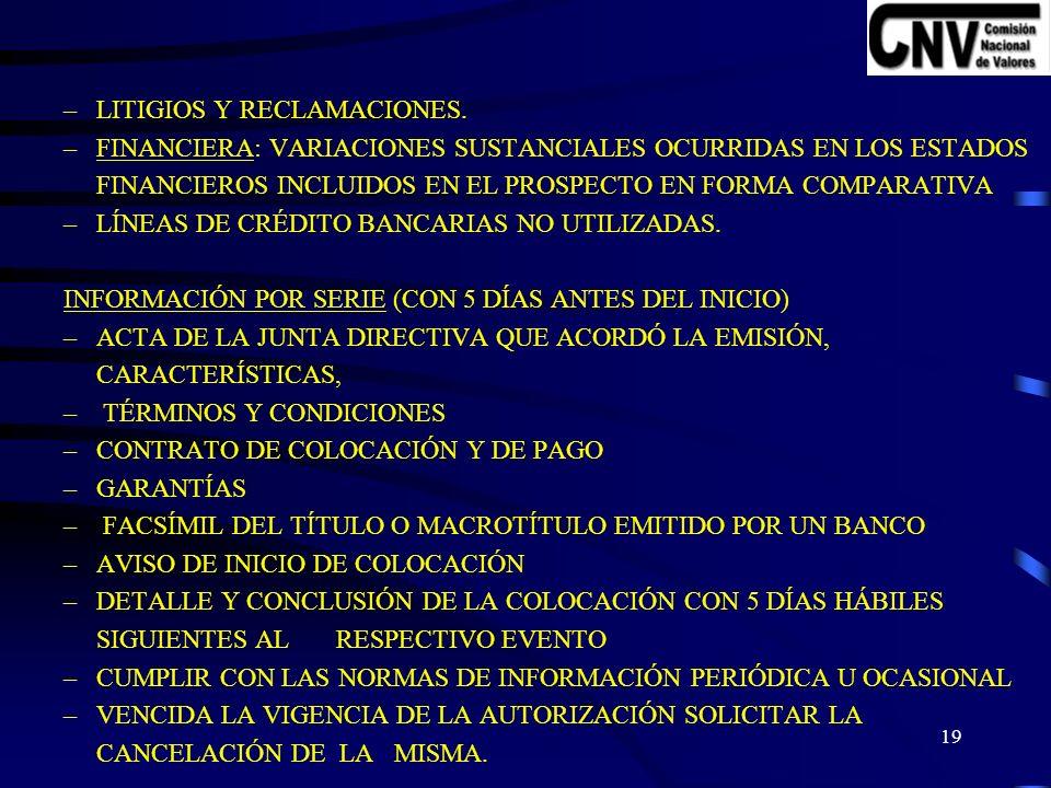 18 VI.- INFORMACIÓN ADICIONAL NO REQUERIDA EN PROSPECTO.
