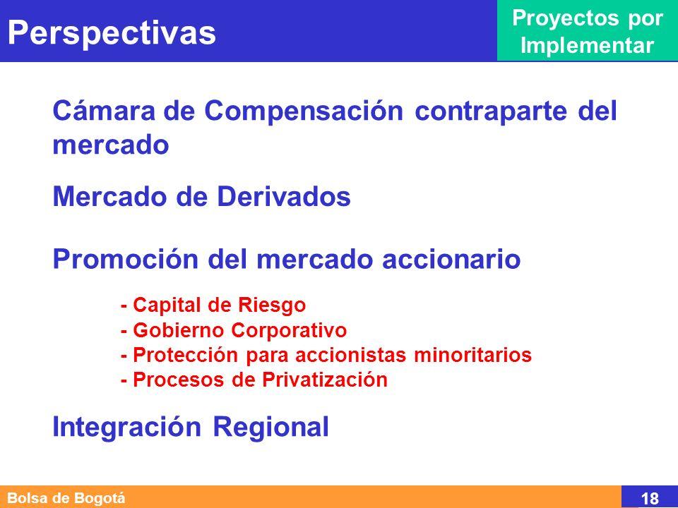 Perspectivas Proyectos por Implementar Bolsa de Bogotá 18 Mercado de Derivados Cámara de Compensación contraparte del mercado Promoción del mercado accionario - Capital de Riesgo - Gobierno Corporativo - Protección para accionistas minoritarios - Procesos de Privatización Integración Regional