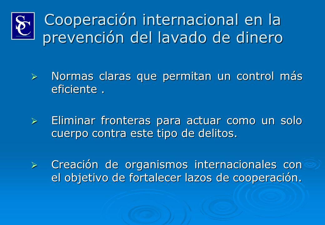 Cooperación internacional en la prevención del lavado de dinero Normas claras que permitan un control más eficiente. Normas claras que permitan un con