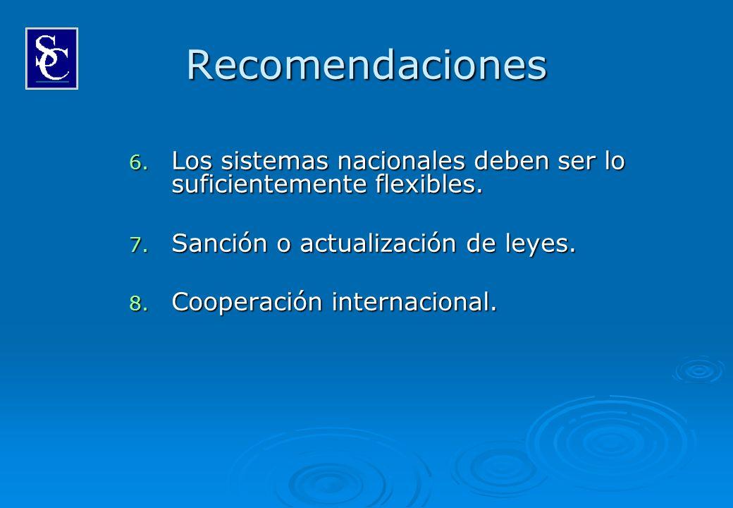 Recomendaciones 6. Los sistemas nacionales deben ser lo suficientemente flexibles. 7. Sanción o actualización de leyes. 8. Cooperación internacional.