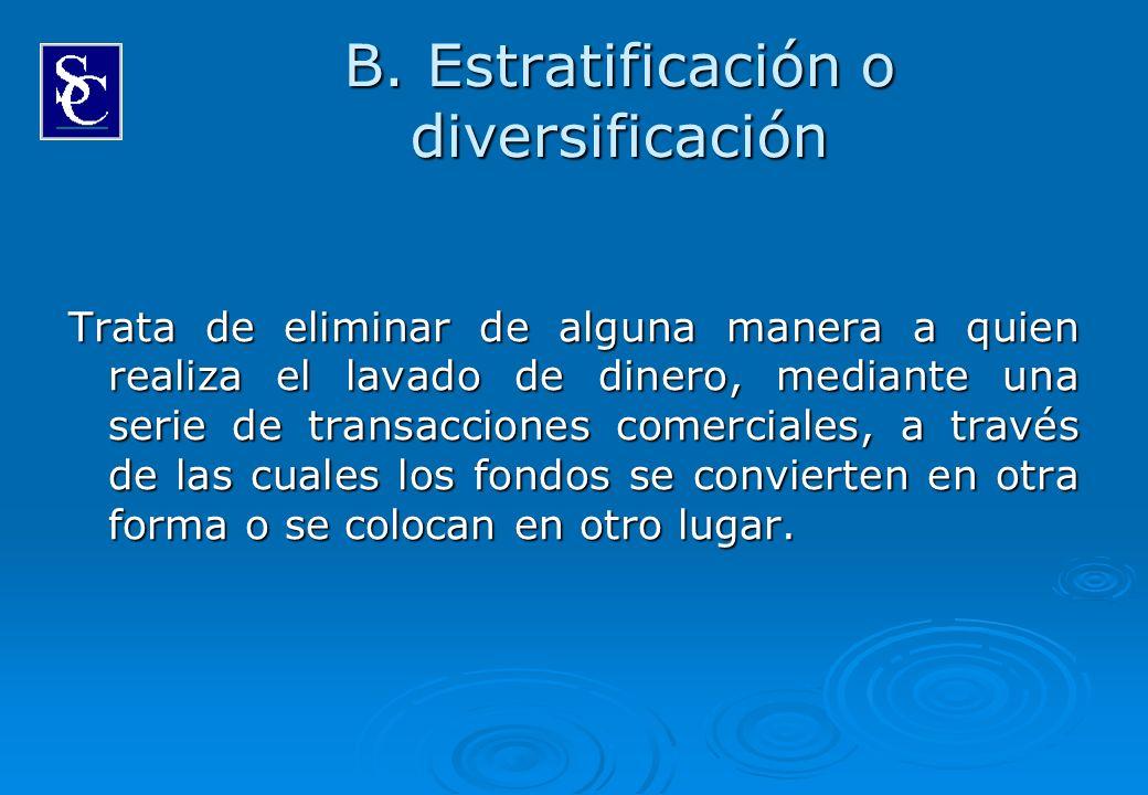 B. Estratificación o diversificación Trata de eliminar de alguna manera a quien realiza el lavado de dinero, mediante una serie de transacciones comer