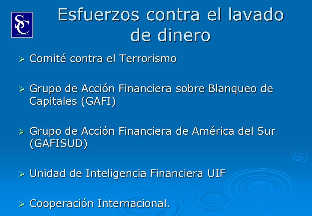 Esfuerzos contra el lavado de dinero Comité contra el Terrorismo Comité contra el Terrorismo Grupo de Acción Financiera sobre Blanqueo de Capitales (G
