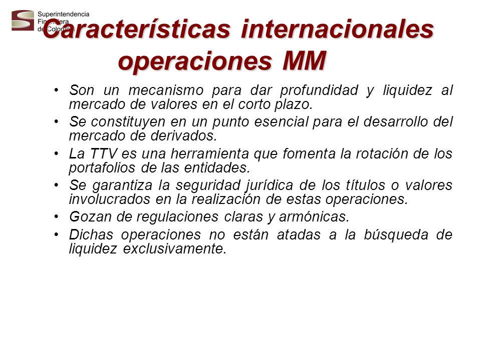 Características internacionales operaciones MM Son un mecanismo para dar profundidad y liquidez al mercado de valores en el corto plazo. Se constituye