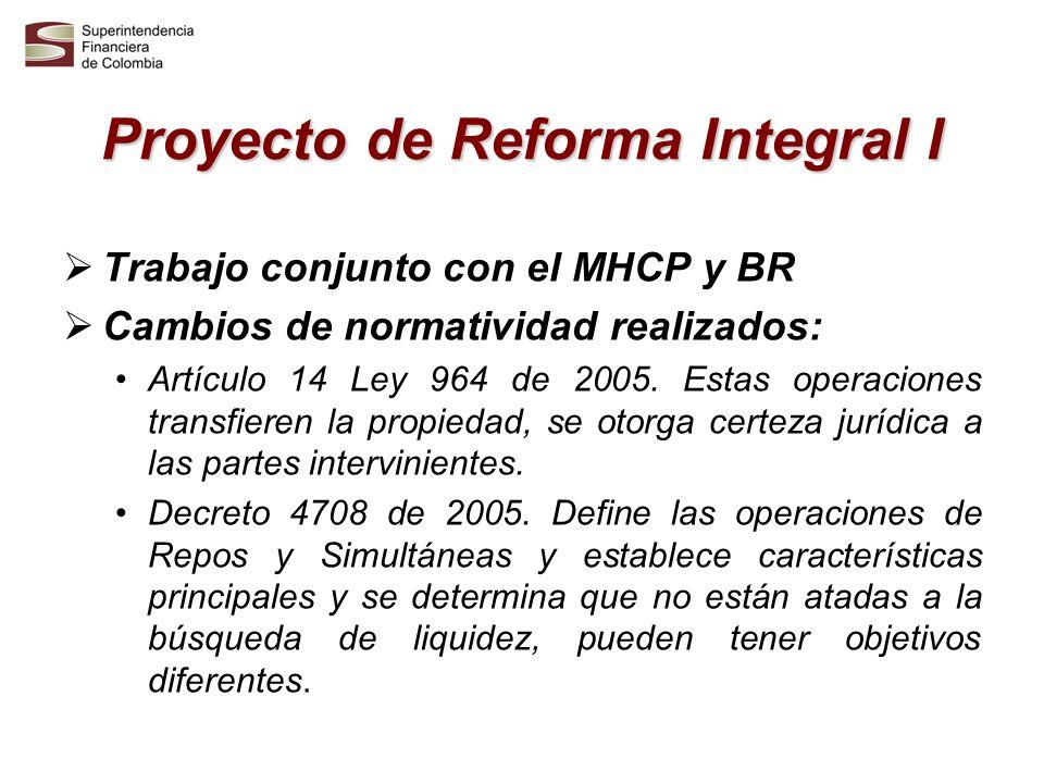 Proyecto de Reforma Integral I Trabajo conjunto con el MHCP y BR Cambios de normatividad realizados: Artículo 14 Ley 964 de 2005. Estas operaciones tr