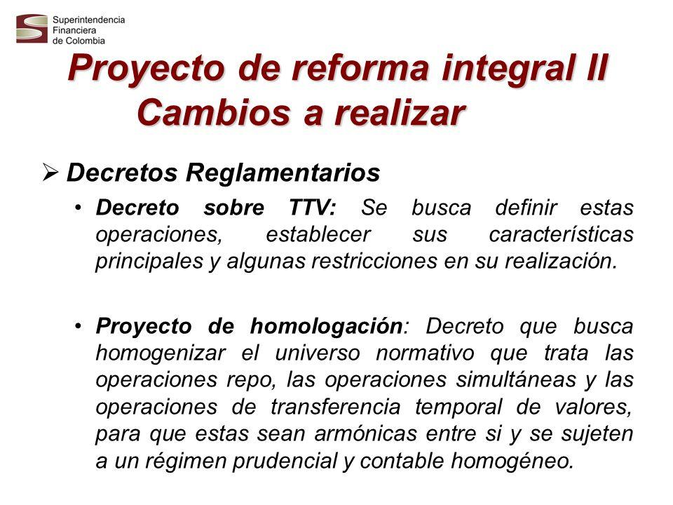 Proyecto de reforma integral II Cambios a realizar Decretos Reglamentarios Decreto sobre TTV: Se busca definir estas operaciones, establecer sus carac