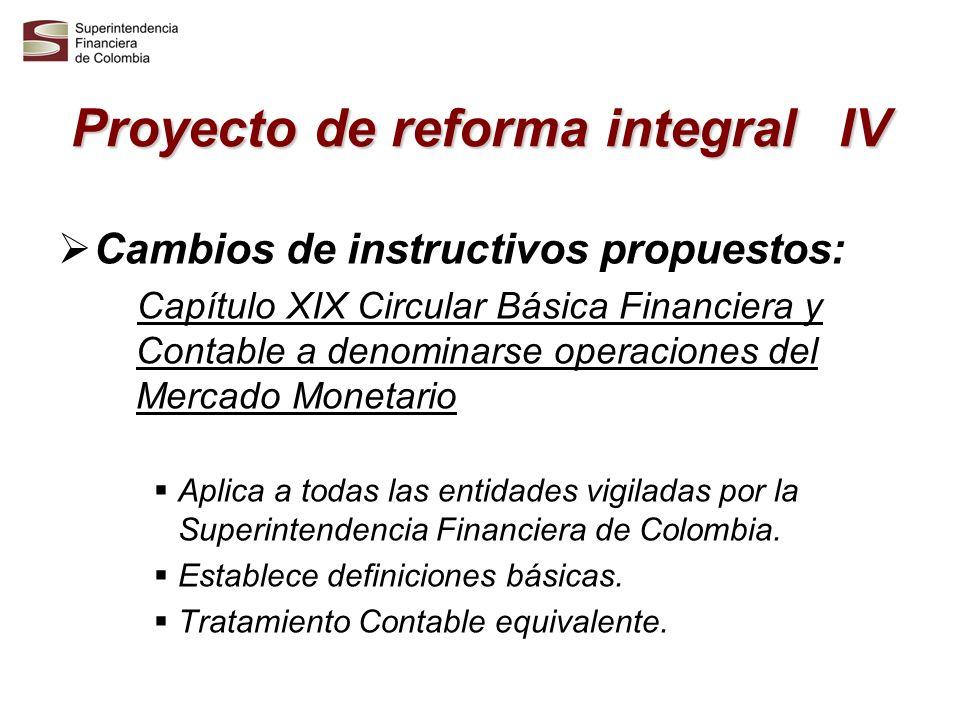 Proyecto de reforma integral IV Cambios de instructivos propuestos: Capítulo XIX Circular Básica Financiera y Contable a denominarse operaciones del M