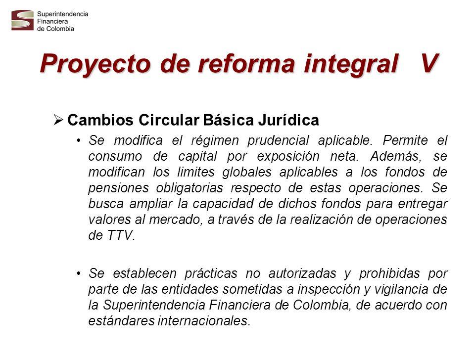 Proyecto de reforma integral V Cambios Circular Básica Jurídica Se modifica el régimen prudencial aplicable. Permite el consumo de capital por exposic