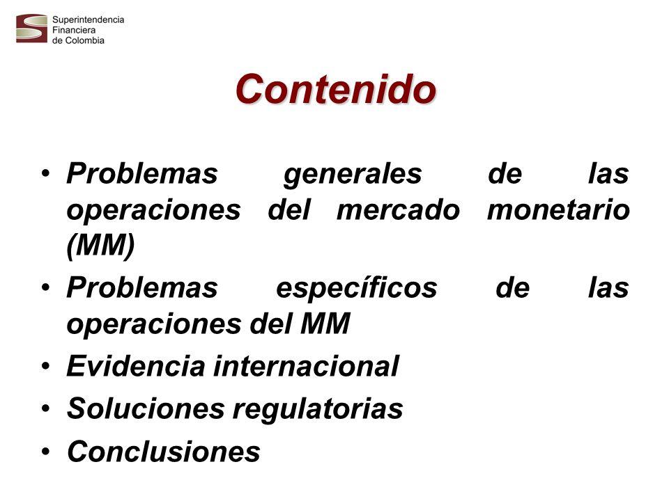 Contenido Problemas generales de las operaciones del mercado monetario (MM) Problemas específicos de las operaciones del MM Evidencia internacional So