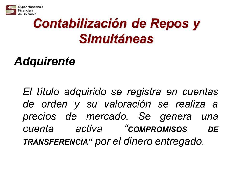 Contabilización de Repos y Simultáneas Adquirente El título adquirido se registra en cuentas de orden y su valoración se realiza a precios de mercado.