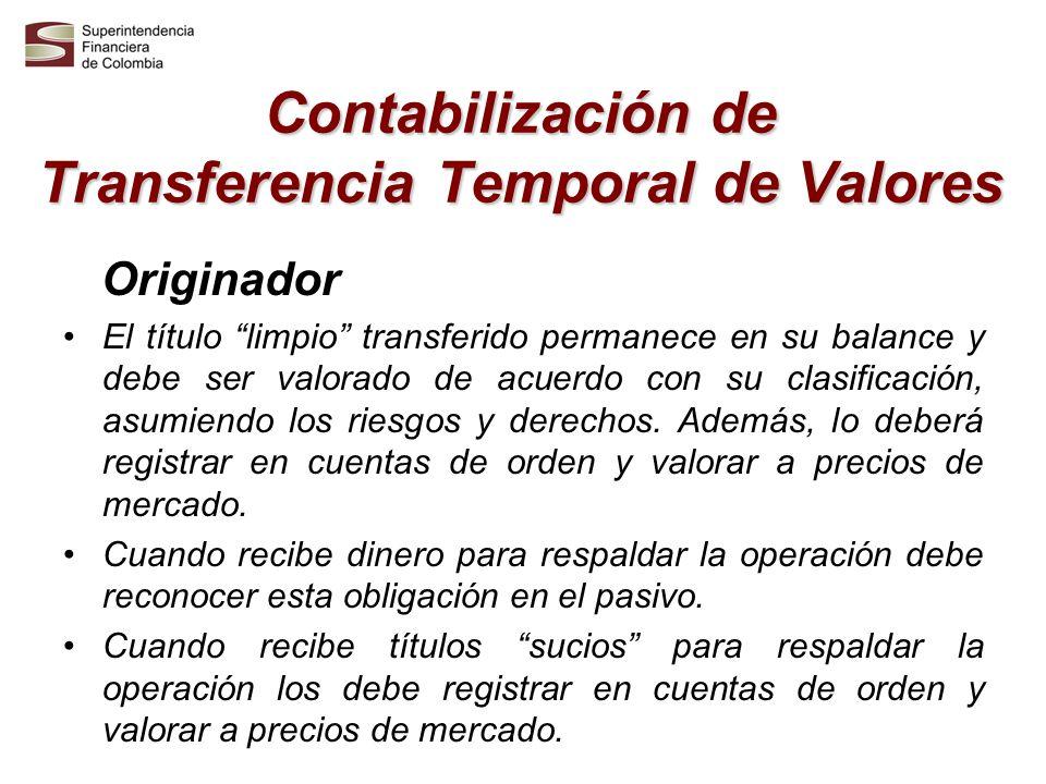 Contabilización de Transferencia Temporal de Valores Originador El título limpio transferido permanece en su balance y debe ser valorado de acuerdo co