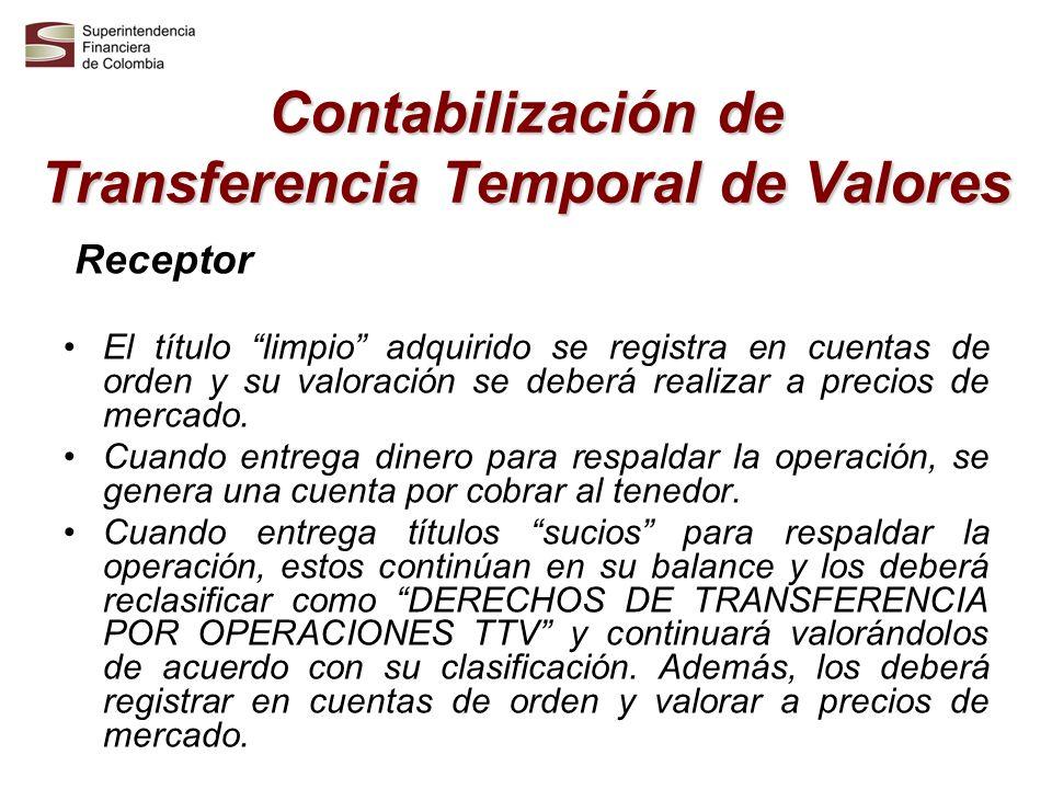Contabilización de Transferencia Temporal de Valores Receptor El título limpio adquirido se registra en cuentas de orden y su valoración se deberá rea