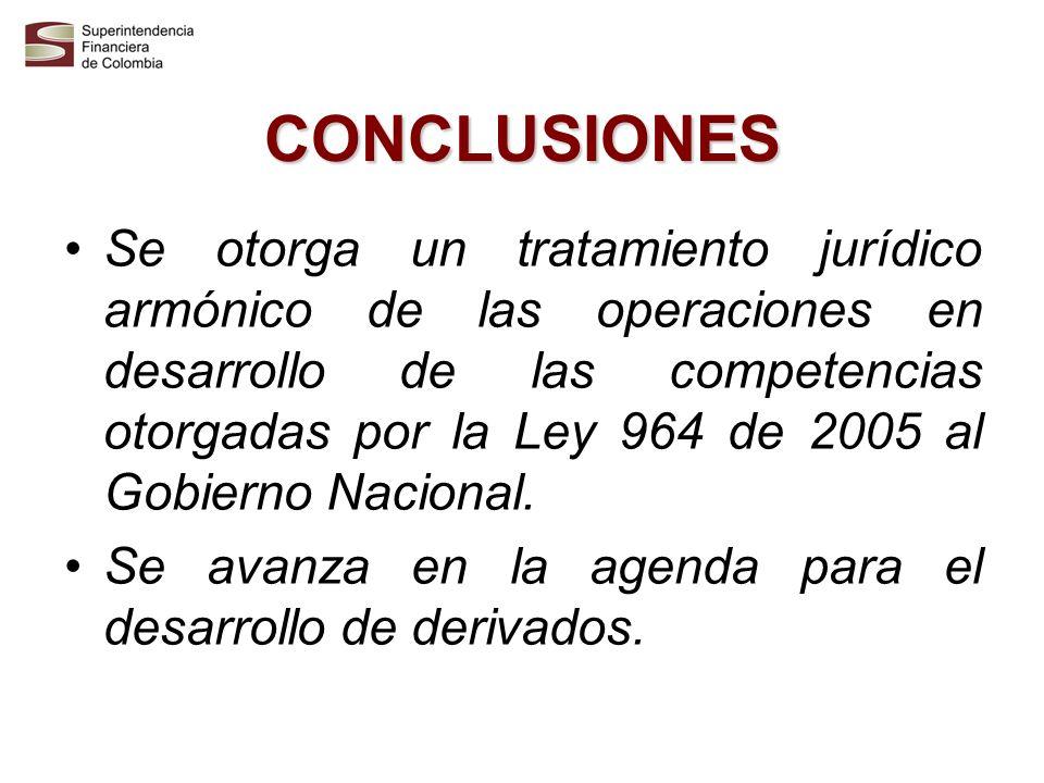 CONCLUSIONES Se otorga un tratamiento jurídico armónico de las operaciones en desarrollo de las competencias otorgadas por la Ley 964 de 2005 al Gobie