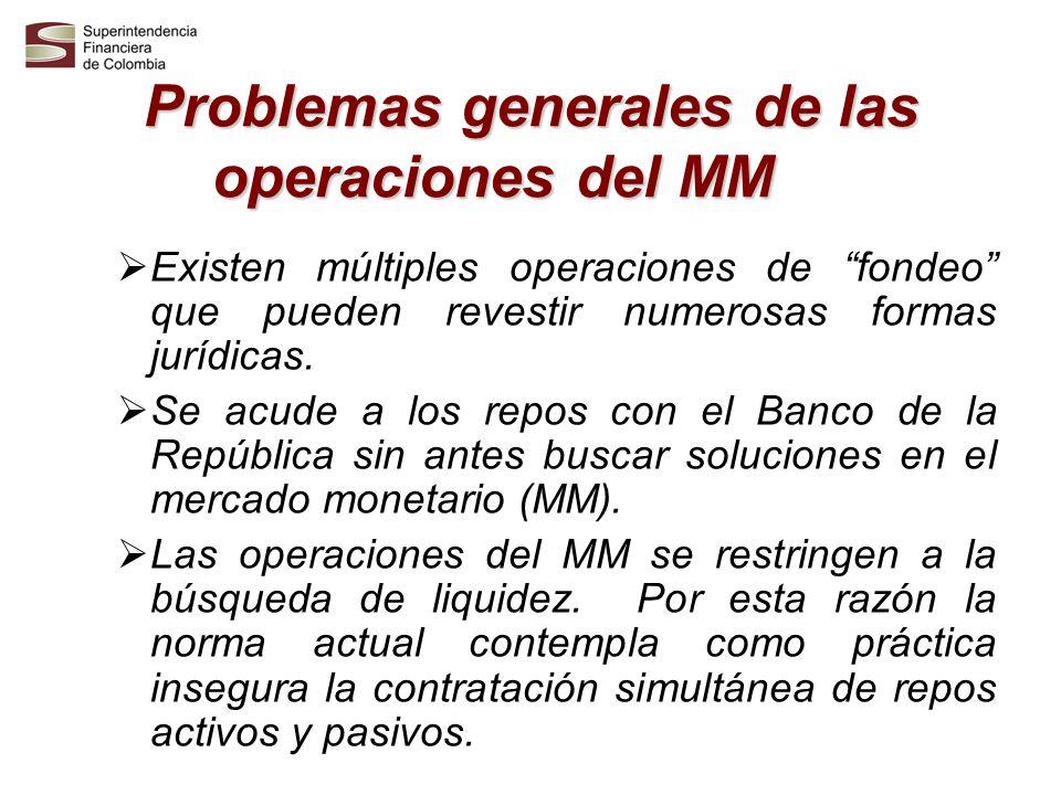 Problemas generales de las operaciones del MM Existen múltiples operaciones de fondeo que pueden revestir numerosas formas jurídicas. Se acude a los r